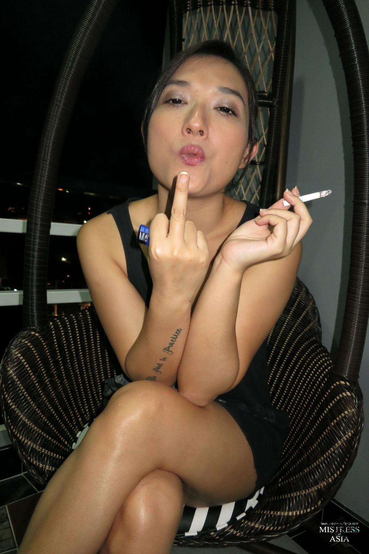 dirty asian smoking -
